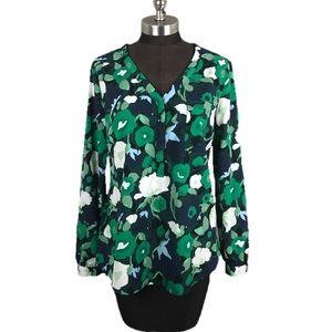 Merona Green Navy Floral Polyester Blouse